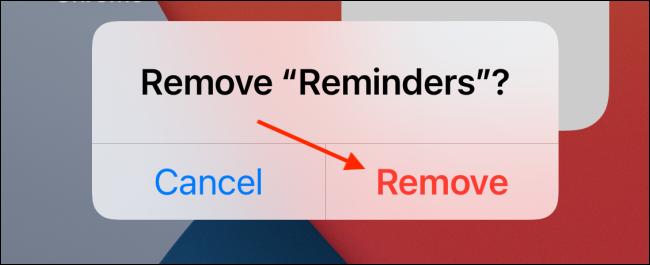 Toque Eliminar para eliminar el widget