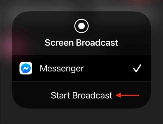 Tap Start Broadcast on iPhone