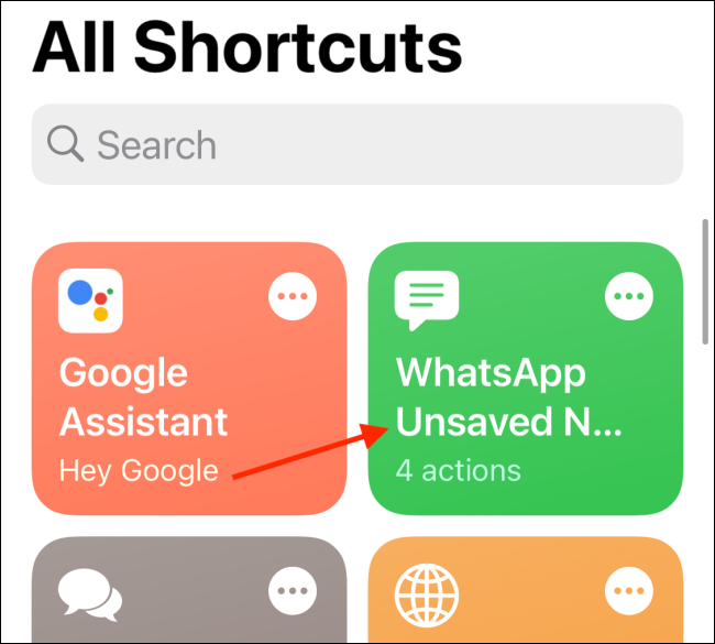 Tap WhatsApp Unsaved Number Shortcut