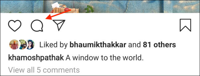 Tap the Comments button on Instagram for Android