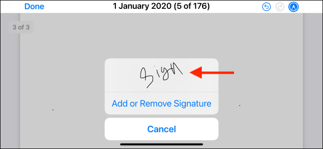 Tap to select a signature