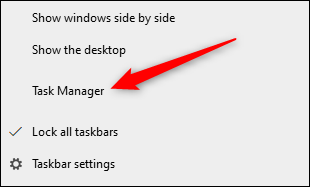 Task Manager option from the task bar menu