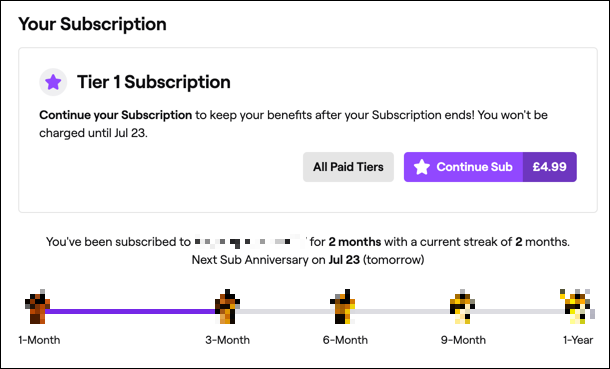 An active subscription to a Twitch channel, shown on the Twitch website.