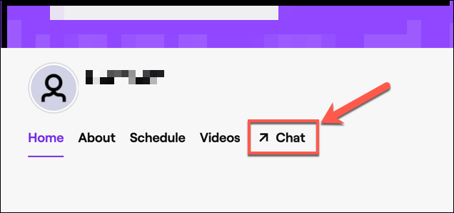 "Click ""Chat"" to access your channel's Twitch chat."