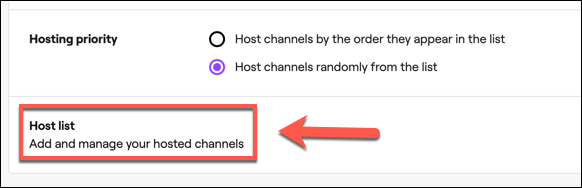 "Click ""Host List"" to access your Twitch auto hosting channel list."