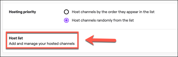 """Click """"Host List"""" to access your Twitch auto hosting channel list."""