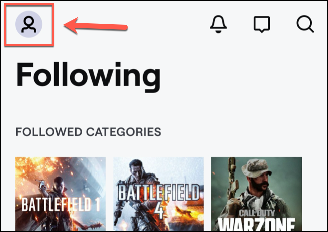 In the Twitch mobile app, tap the channel icon in the top-left.