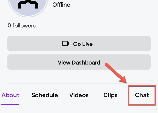 """In your channel profile, click the """"Chat"""" option."""