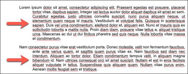 Un ejemplo de sangría colgante aplicada a múltiples párrafos en un documento de Microsoft Word