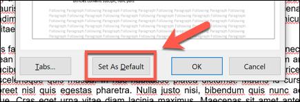 """Haga clic en la opción """"Establecer como predeterminado"""" en la parte inferior de la ventana para aplicar sus cambios al documento en su conjunto o a todos los documentos futuros."""