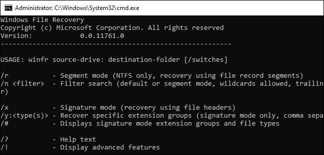 Command-line help for the winfr command.