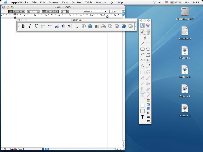 AppleWorks 6.0 ejecutándose en un escritorio Mac antiguo.