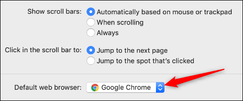 arrow to select default browser