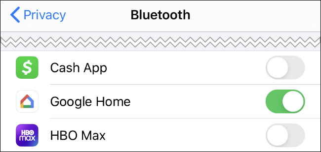 Bluetooth app permissions on an iPhone.