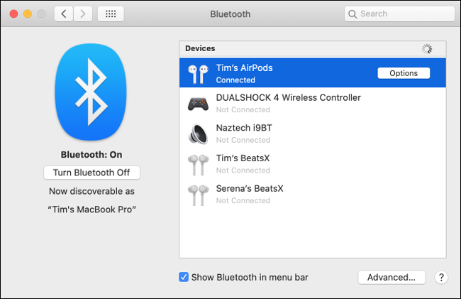 "The ""Devices"" list in the ""Bluetooth"" menu."