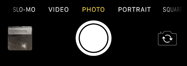 The options at the bottom of the screen in the iPhone Camera app.