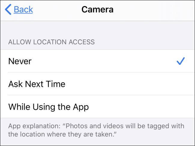 """A seção """"Permitir acesso à localização"""" no aplicativo Câmera."""