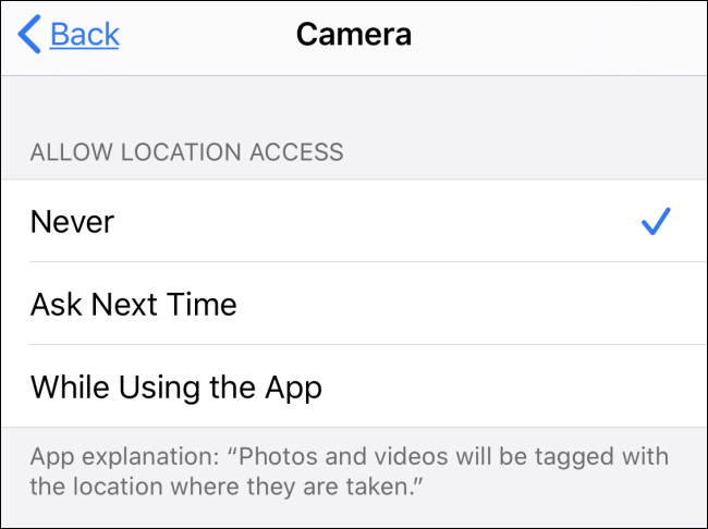 """The """"Allow Location Access"""" section in the Camera app."""