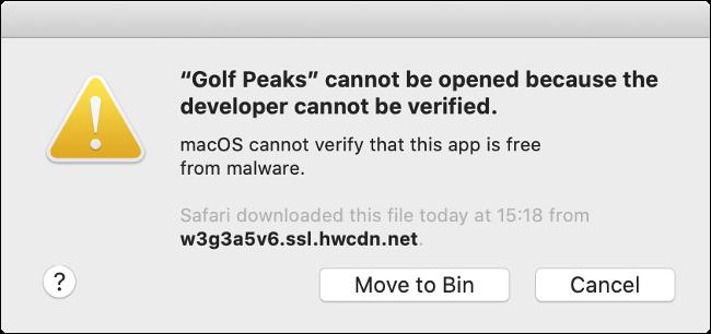 A macOS Gatekeeper error message.
