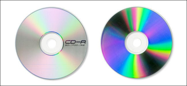 The front and back of a CD-R.