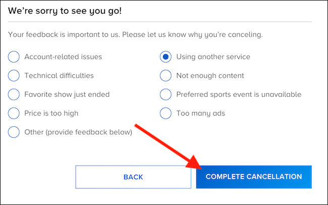 """Choose a reason for canceling and then select the """"Complete Cancellation"""" button"""