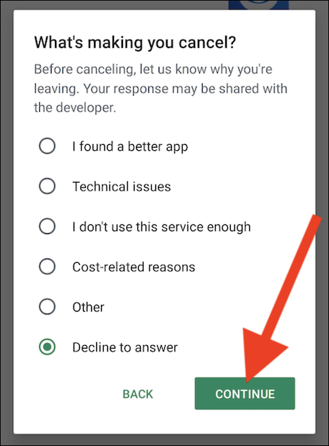 """Provide a reason to cancel and then tap the """"Continue"""" button"""