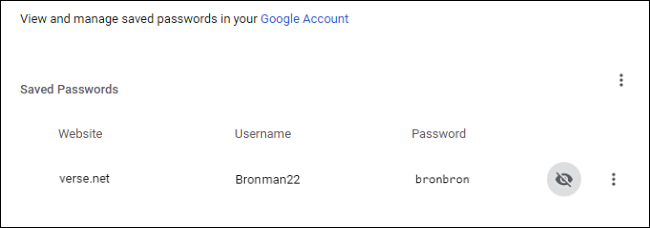 "The ""Saved Passwords"" screen in Chrome."