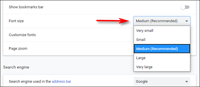 Select a default font size from the drop-down menu in Chrome settings