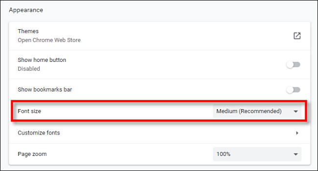 Locate Font Size option in Chrome Settings