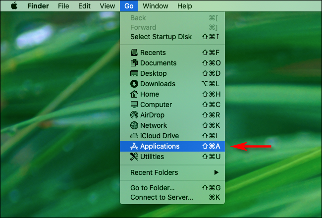"""Click """"Go"""" in Finder and Select """"Applications."""""""