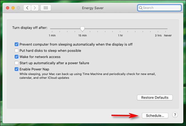 """Fare clic su """"Programma"""" nel menu """"Risparmio energetico""""."""