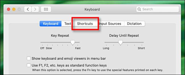 """Click """"Shortcuts"""" in the """"Keyboard"""" menu."""