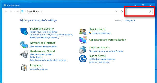 Locate the Windows 10 Control Panel search bar.