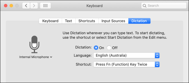 "The ""Dictation"" settings in the ""Keyboard"" menu."