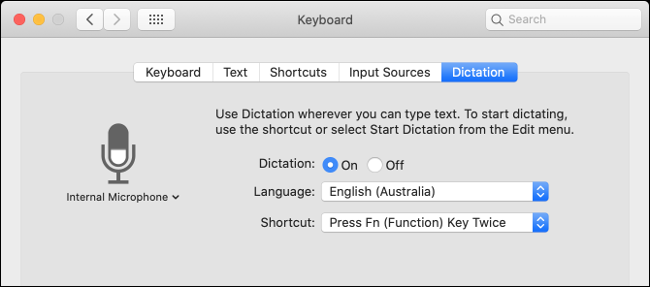 """The """"Dictation"""" settings in the """"Keyboard"""" menu."""