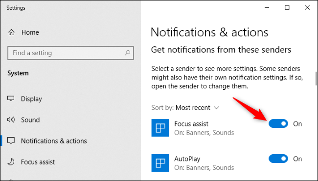 Disabling notifications for an app in Windows 10's Settings.