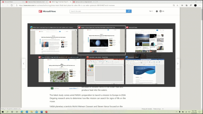 Edge browser tabs appearing in the Alt+Tab switcher.