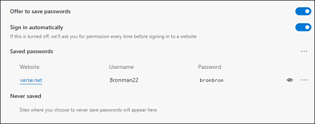 A saved password revealed in Edge