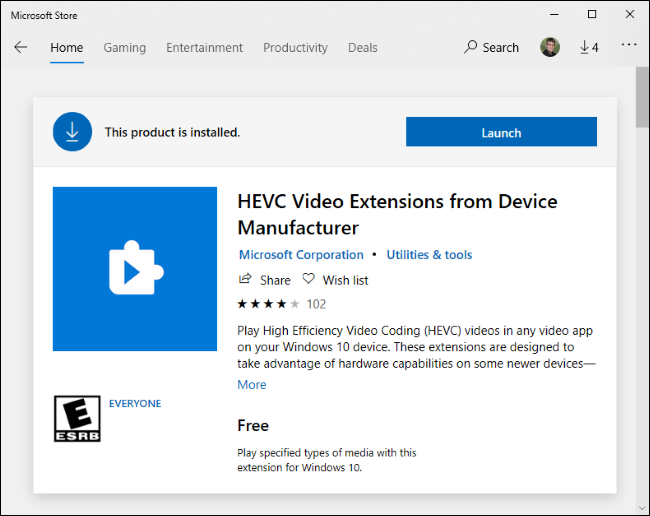 Free HEVC Video Extensions on the Microsoft Store.