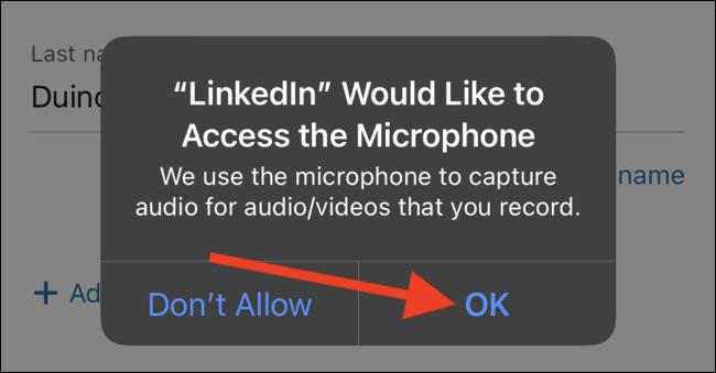 Conceder permiso a la aplicación de LinkedIn para acceder al micrófono de su teléfono