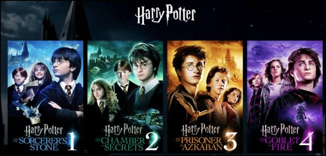 Harry Potter movies on HBO Max