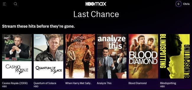 Last Chance titles on HBO Max