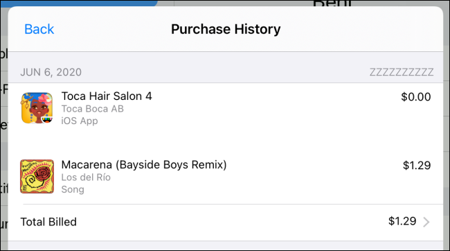 "A ""Purchase History"" on an iPad."