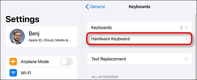 """Tap """"Hardware Keyboard"""" in iPad Keyboard Settings."""