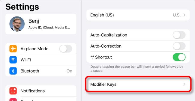 """Tap """"Modifier Keys"""" in iPad Keyboard Settings."""