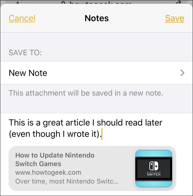 Sharing a link from Safari to a note on iPhone