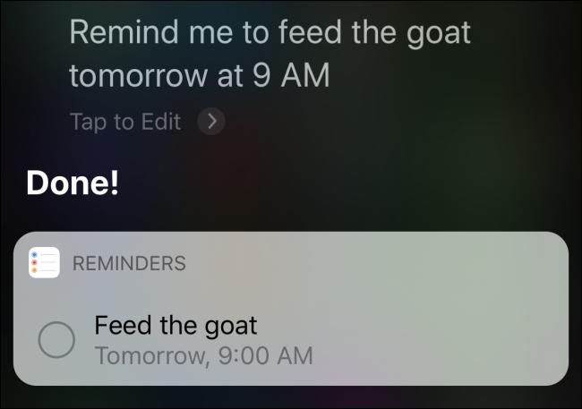"""Siri confirmando un recordatorio para """"alimentar a la cabra mañana a las 9 a. M."""""""