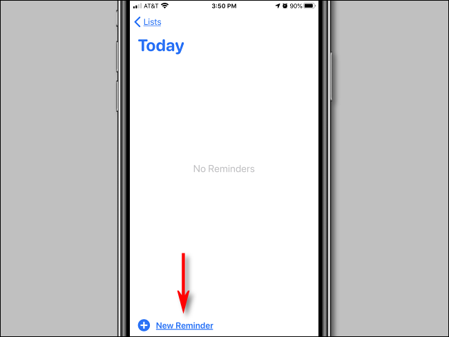 Tap New Reminder in in Reminders app on iPhone