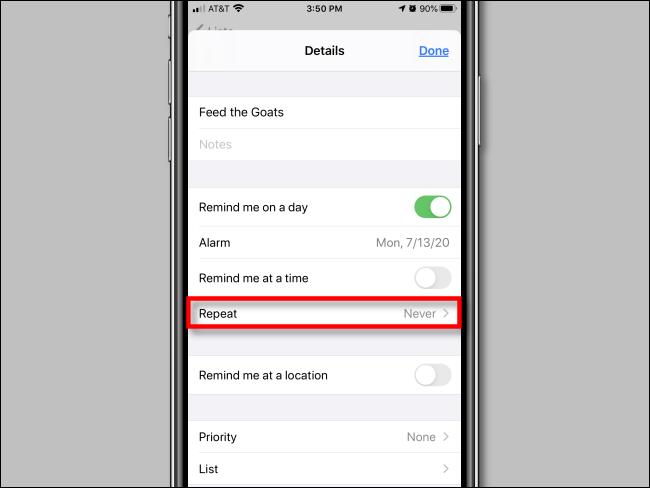 Toque Repetir en las opciones de recordatorio en la aplicación Recordatorios en iPhone