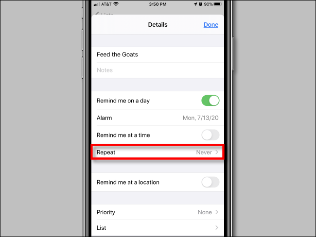 Tap Repeat in reminder options in Reminders app on iPhone
